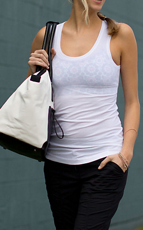 Lululemon Clarity Tank. Love the sheerness of the fabric, and I can wear it to happy hour over a pretty bra. Because I'm a slut like that.